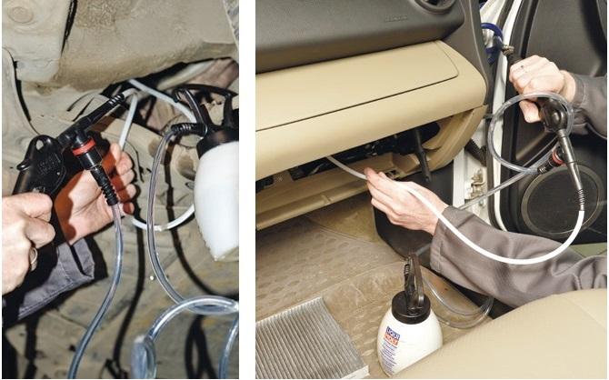 Чистим кондей автомобиля пистолетом и очистителем