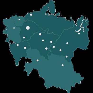 Доставка в 8 регионов, 45 городов РФ