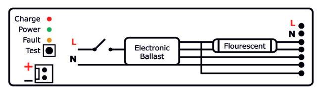 Схема подключения ЭПРА к блоку аварийного питания БАП 1.0 Pelastus