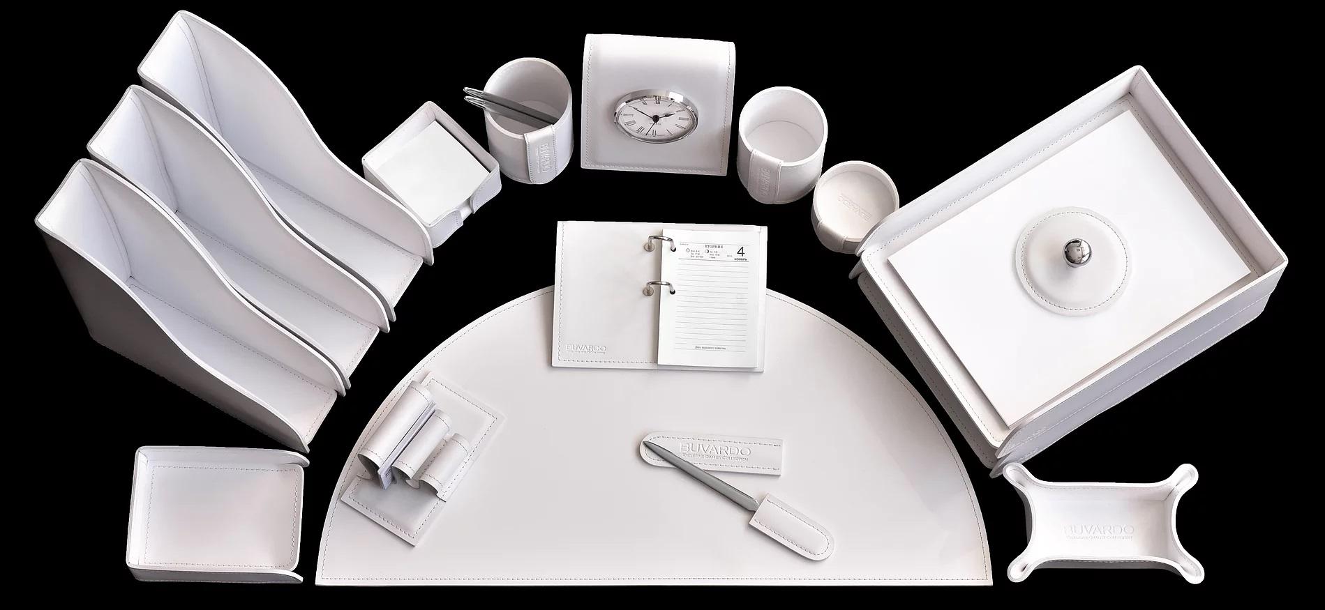 белый настольный набор из кожи кабинет руководителя випнабор бувардо