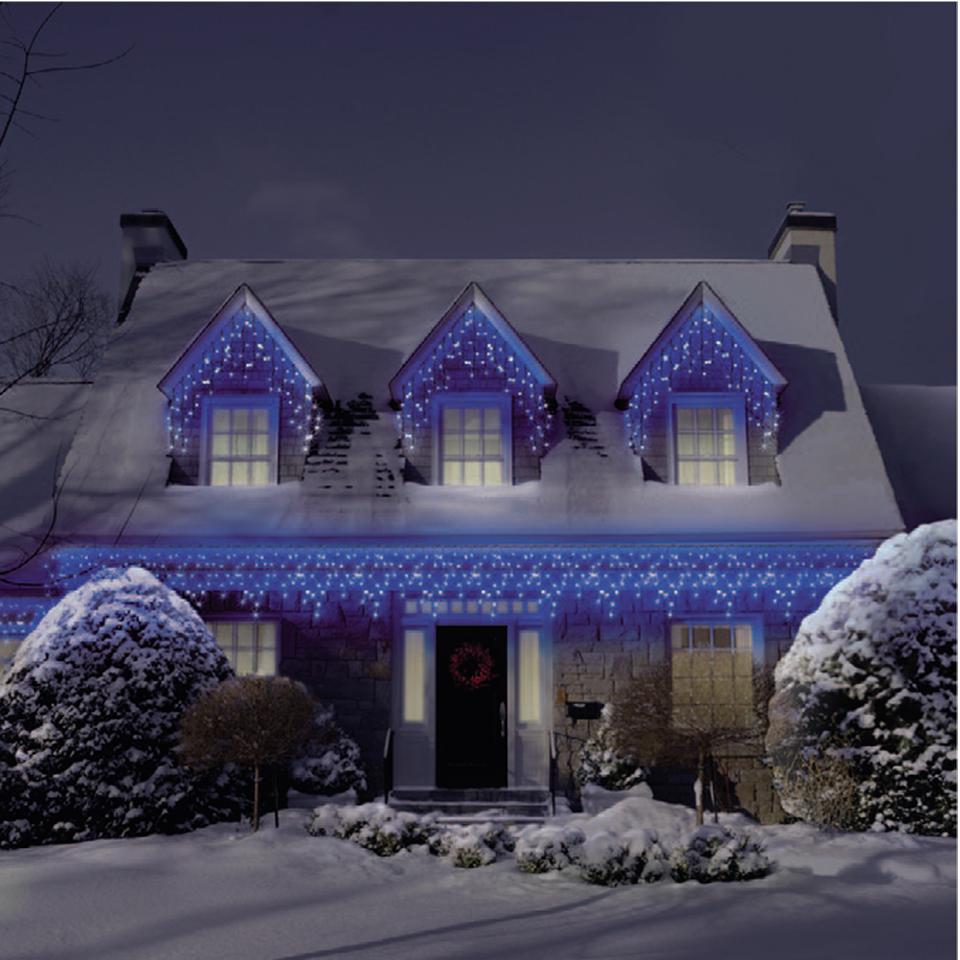 Уличная ширлянда бахрома 5 м на 0,7 м синяя ПВХ провод наружная LED