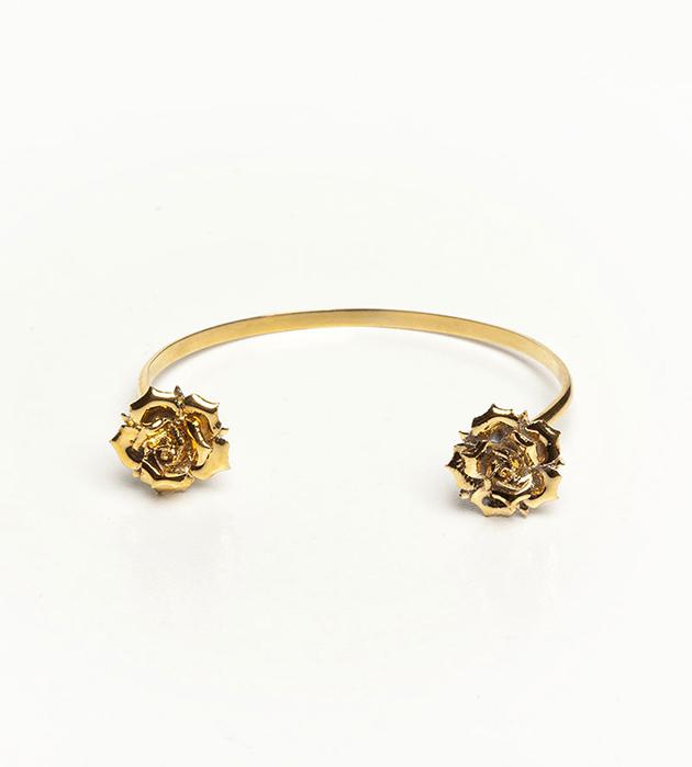 Браслет из позолоченной латуни и фарфора Double Flower Gold от ANDRES GALLARDO
