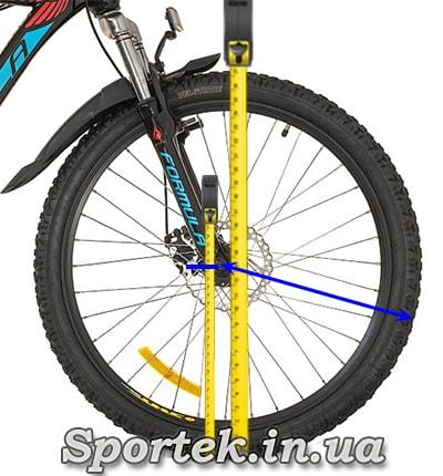 Измерения диаметра колеса велосипеда рулеткой