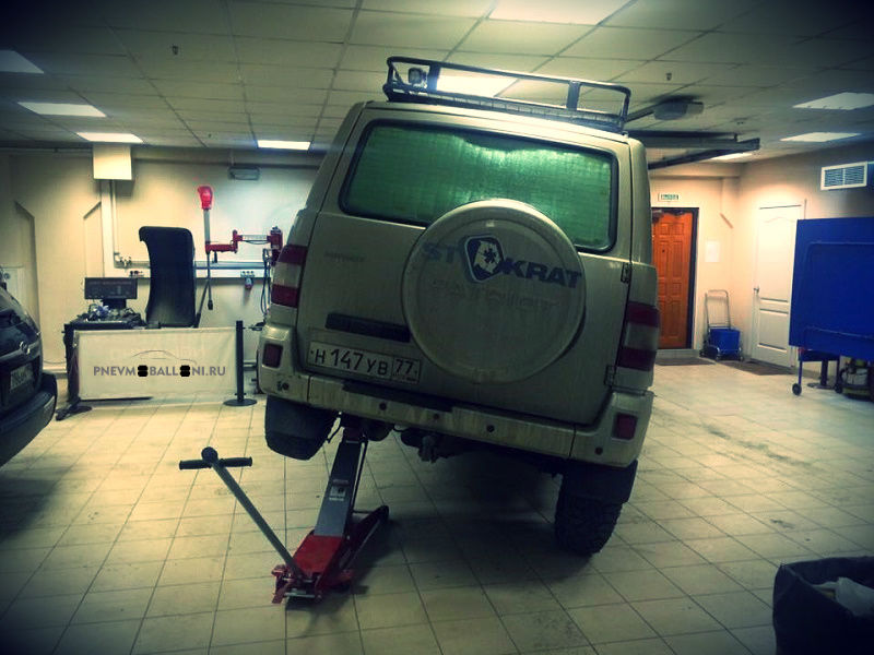 Дагональное вывешивание УАЗ Патриот с задней пневмоподвеской