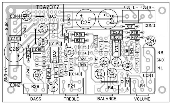 Радиоконструктор RS162. Стереофонический УНЧ 2х15 Вт на микросхеме TDA7377 с сабвуфером 30 Вт