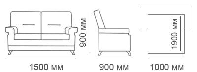 Габаритные размеры 2-местного дивана Сканди