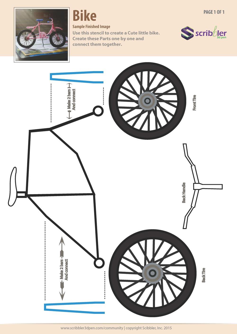 Трафарет для 3д ручки - велосипед