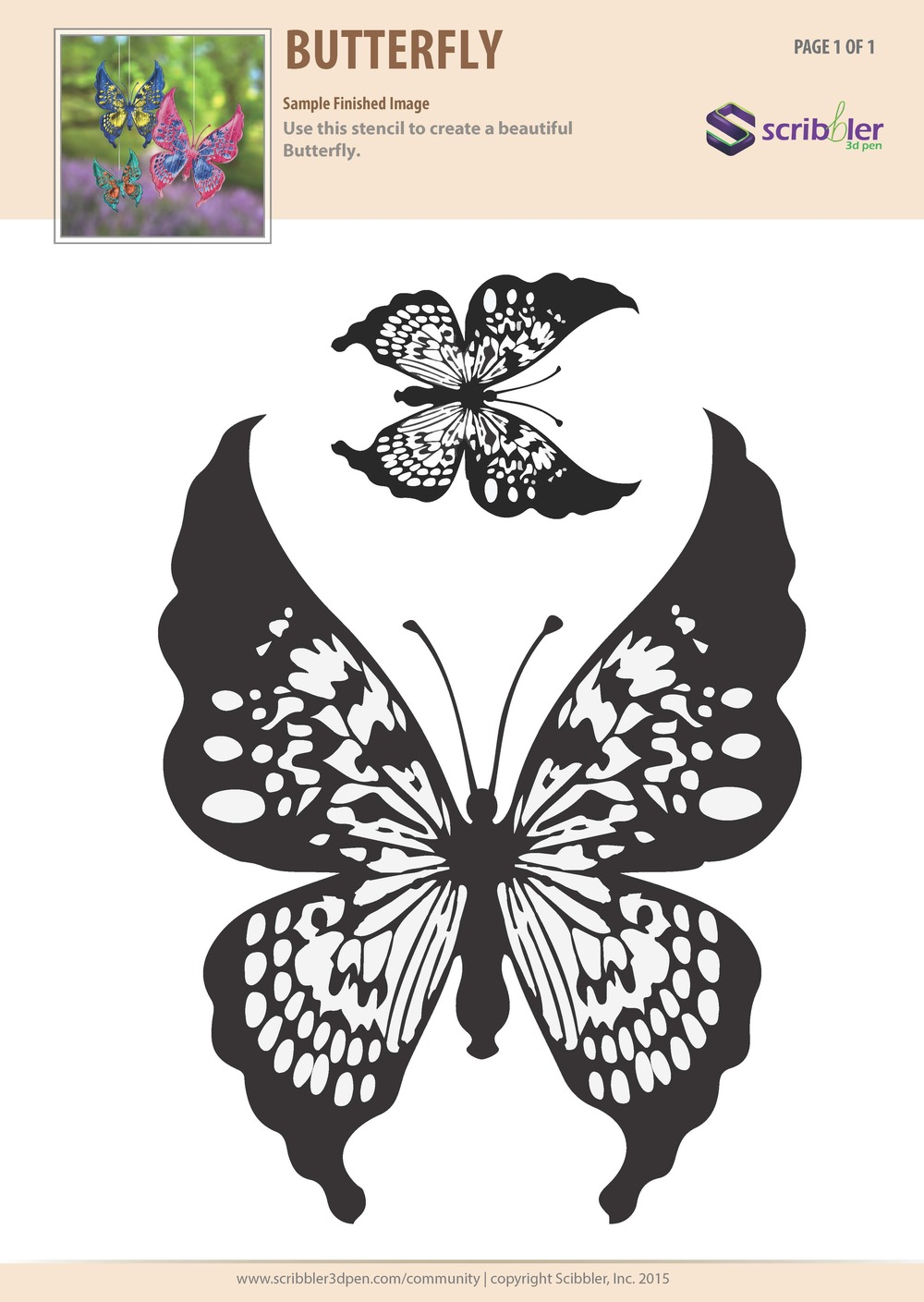 Трафарет для 3д ручки - бабочка