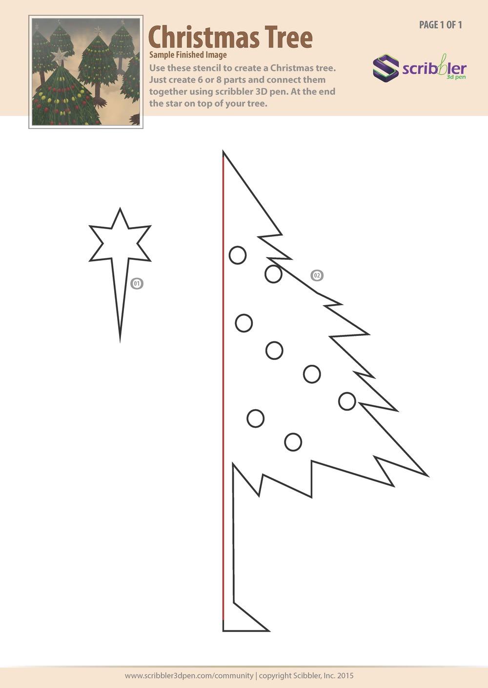Трафарет для 3Д ручки - рождественское дерево