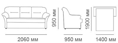 Габаритные размеры 3-местного дивана Глаффи-2