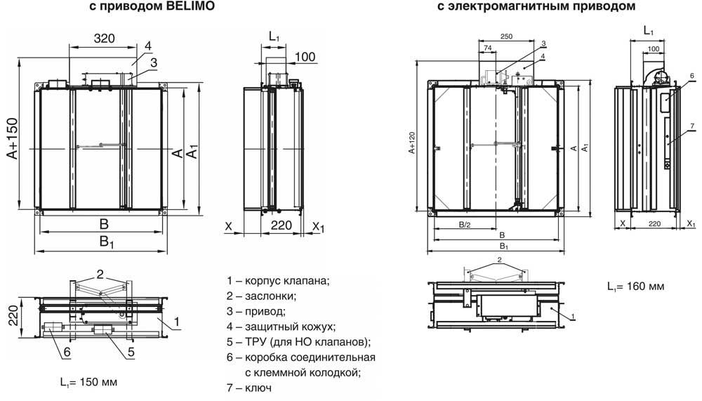 Схема клапана КЛОП-3(120)-НО-ЭМ(12/24/220)-Н