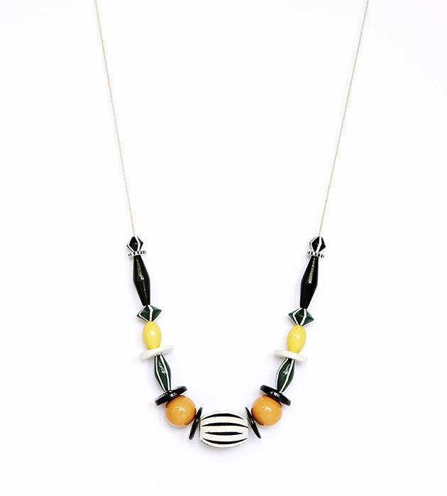 ожерелье Moon Orange из крупных деревянных бусин на цепочке от Apres Ski