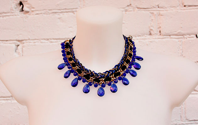 купить Синее женское колье-ожерелье из кристаллов фото