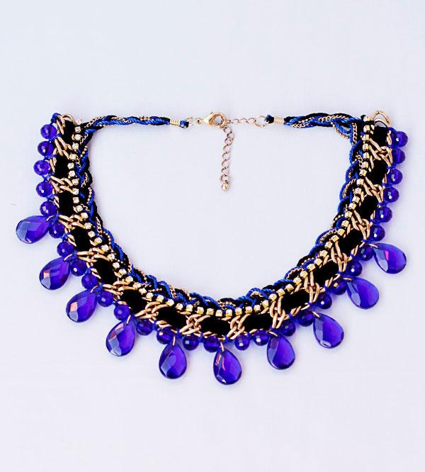 фото Синее женское колье-ожерелье из кристаллов купить