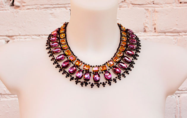 купить Вечернее женское колье-ожерелье из кристаллов фото