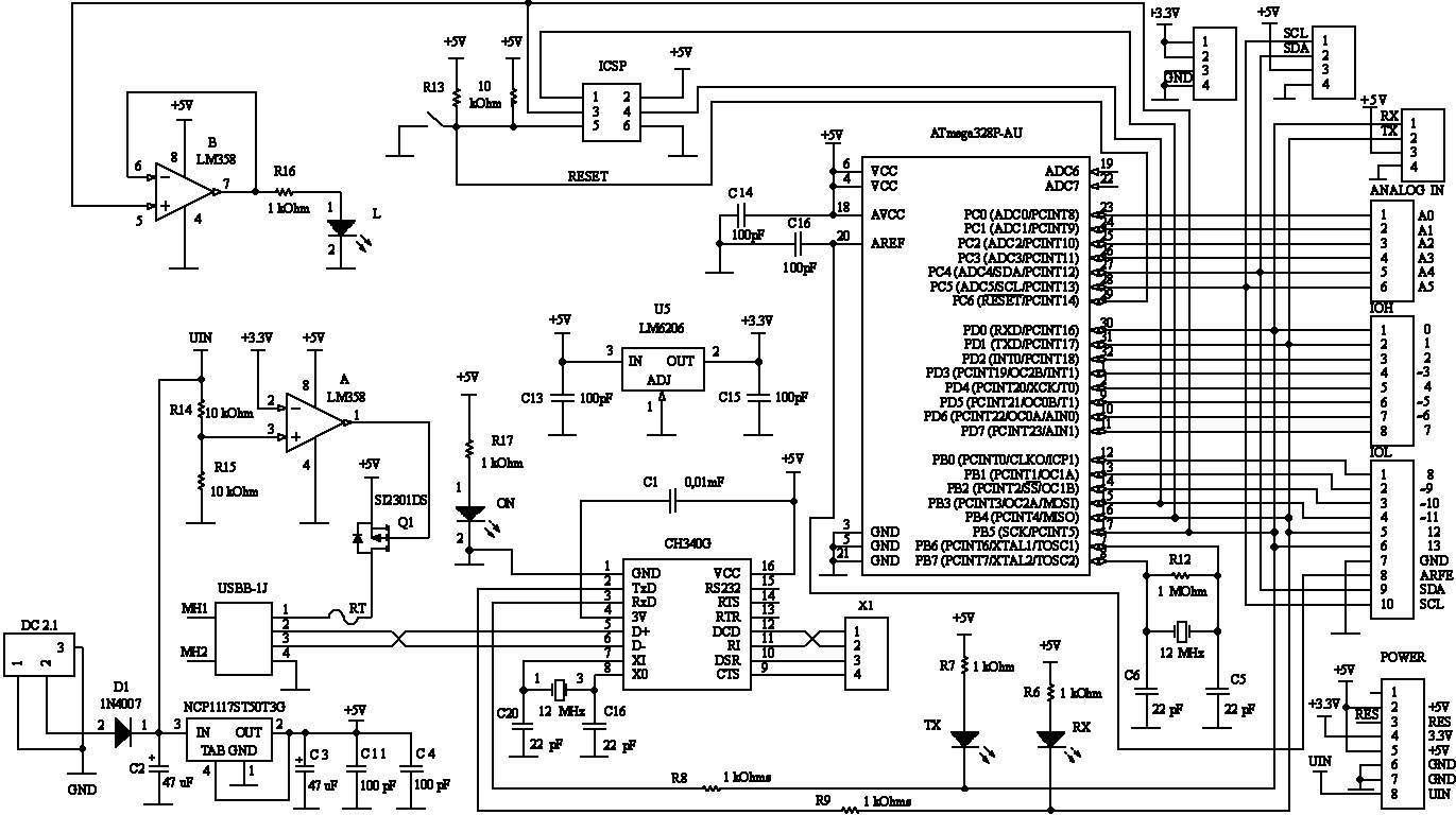 Схема Arduino UNO R3 CH340