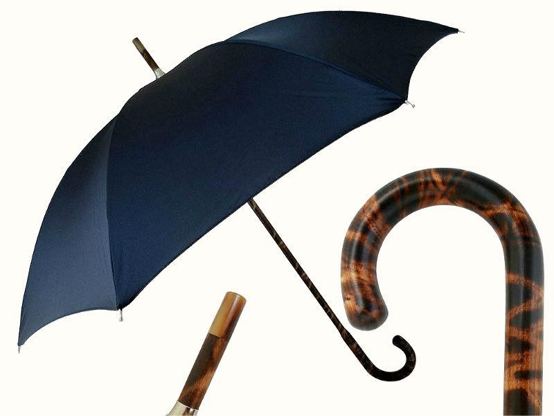 Pasotti синий элитный зонт с ручкой из ореха