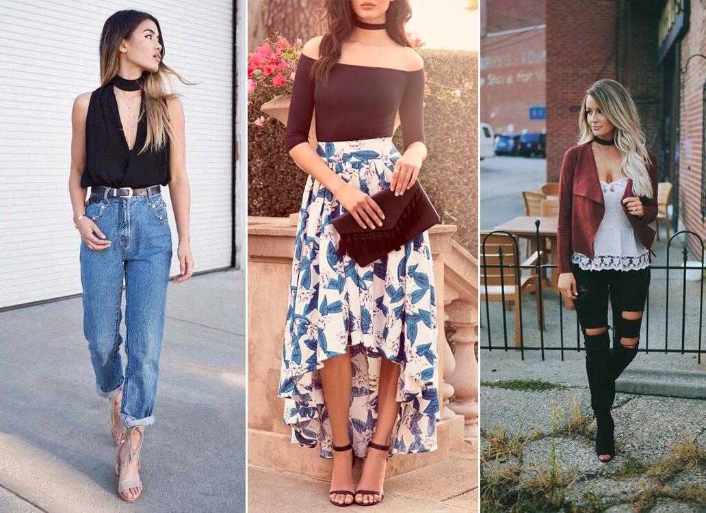 Чокер с платьем, джинсами