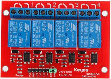 Модуль RA003. 4х канальное реле 250 В ; 10 А (Питание 5 В)