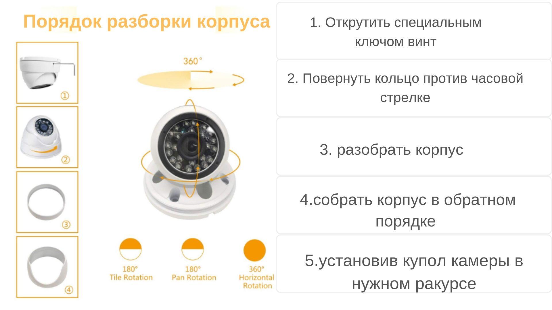 Инструкция Вид: разборка корпуса внутренней видеокамеры CAICO TECH CCTV