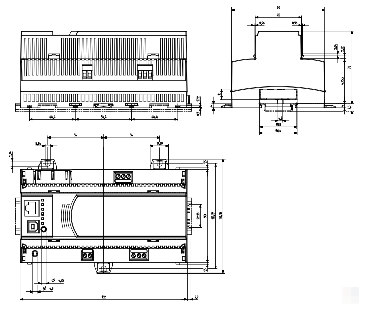 Размеры маршрутизатора Siemens PXG3.L
