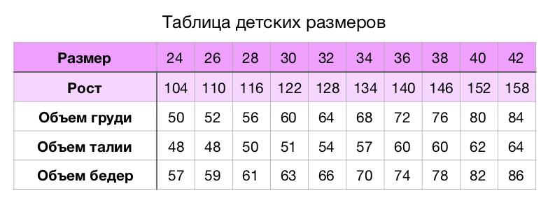 Таблица размеров Нинель спорт
