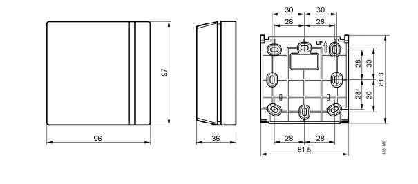 Размеры термостата электромеханического комнатного Siemens RAA11