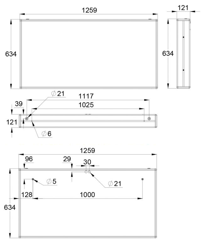 Монтажные размеры указателя обозначения эвакуационных выходов IP44 ESC-3