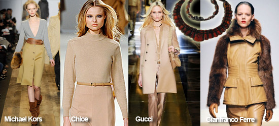 Мода осени 2010 фото, тренд - песочный цвет. Янтарные бусы.