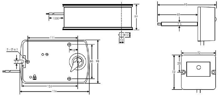 Размеры электропривод LUFBERG FS05S220S