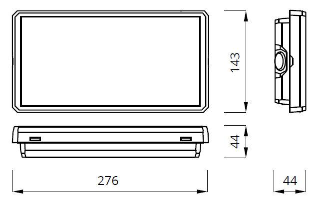 Размеры аварийного светодиодного указателя EXIT M