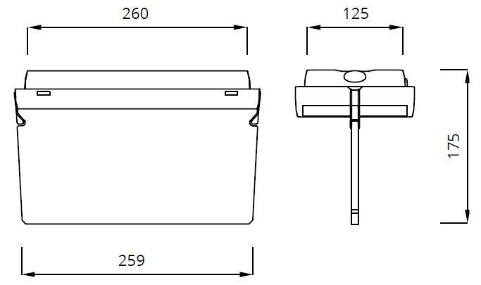 Размеры аварийного светодиодного указателя EXIT M с эвакуационным табло