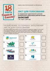 Туристический логотип Заокского района, представленный группой Develius Estate, помещен под номером один в лист голосования