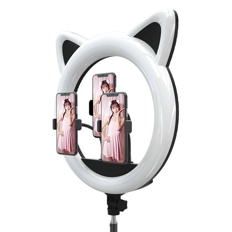 Большая селфи лампа на штативе с кошачьими ушками