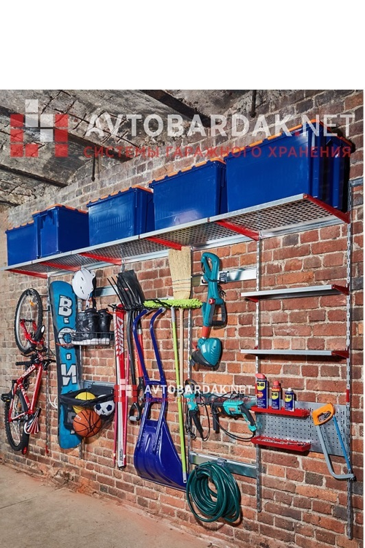 Настенные модульные металлические полки для гаража