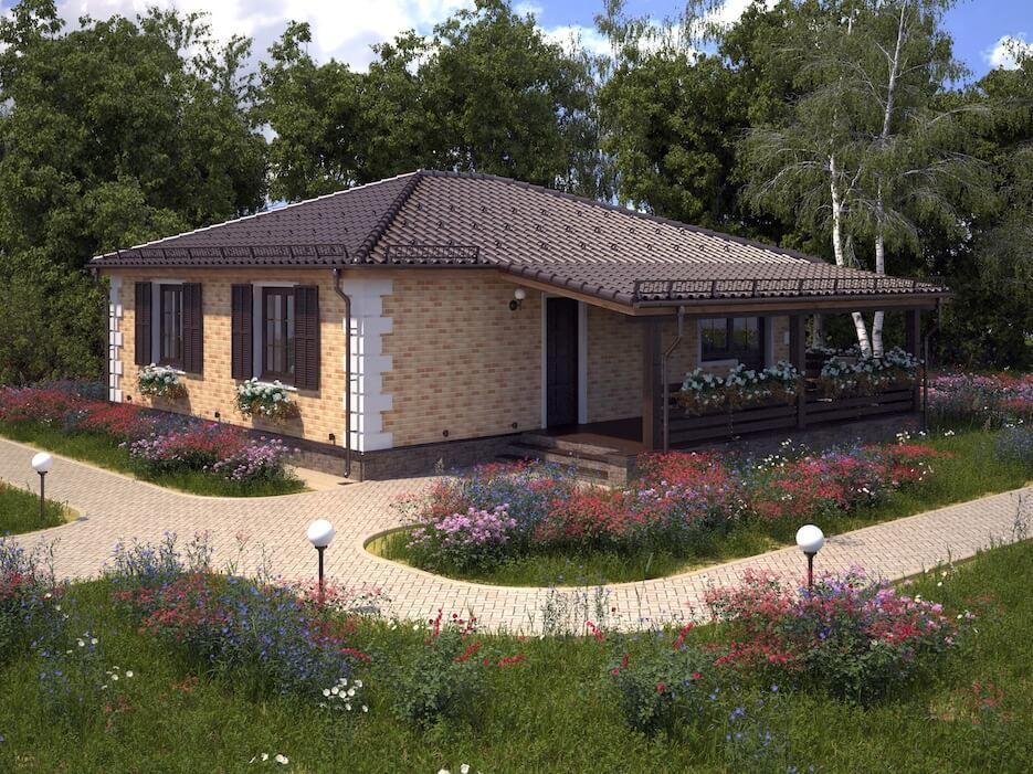Красивый одноэтажный дом: проект из кирпича