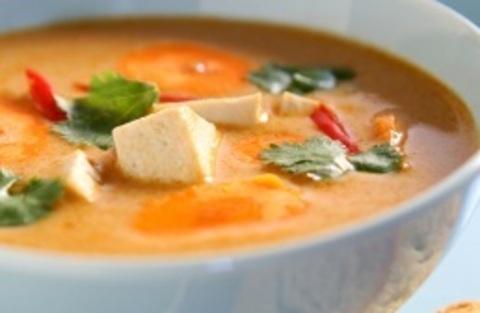 Тыквенный суп-пюре с тофу и ширатаки