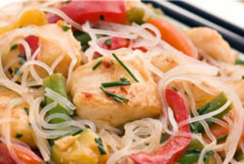 Ширатаки с треской и овощами