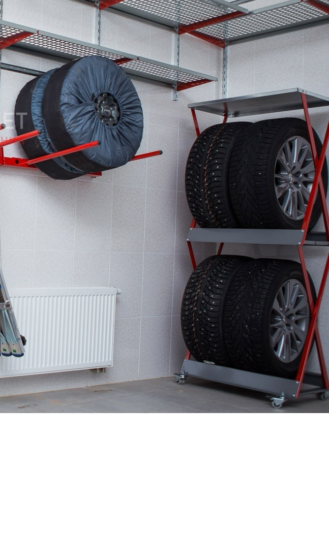 Напольный или настенный стеллаж для хранения шин?