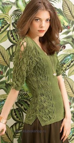 Летний пуловер спицами из мериносовой шерсти