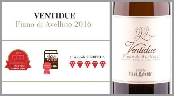 3 бокала и 5 гроздей для Fiano di Avelino Ventidue 2016