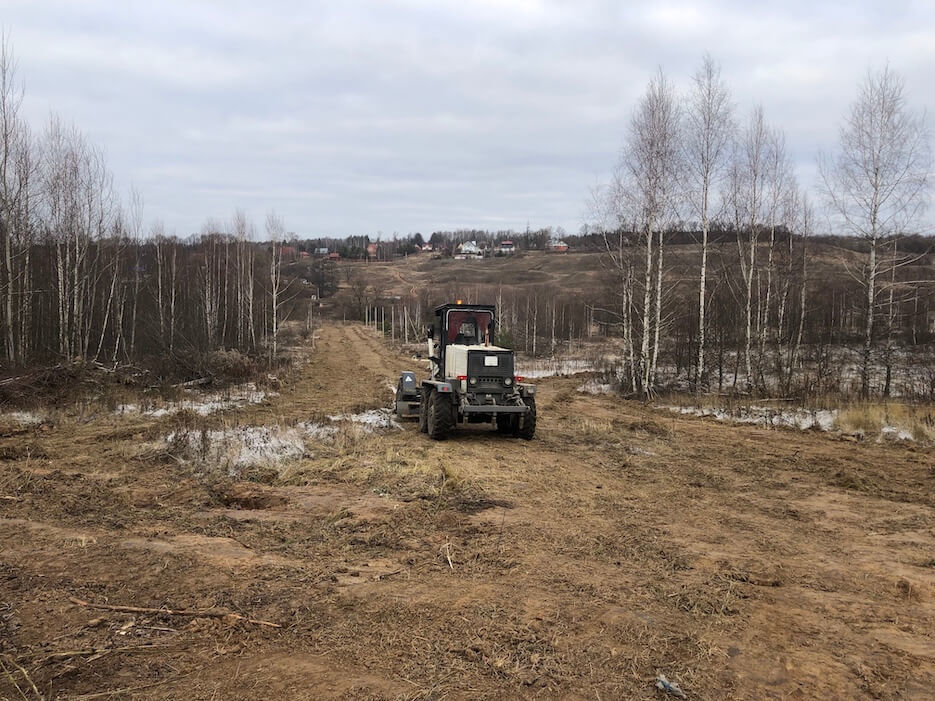 Планировка основания дорог в северной части «Усадьбы Романово»