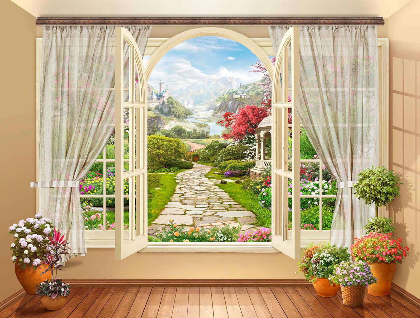 Выбираем фотообои с видом из окна на сад или природу