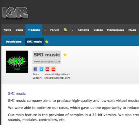 Our developer page on KVR
