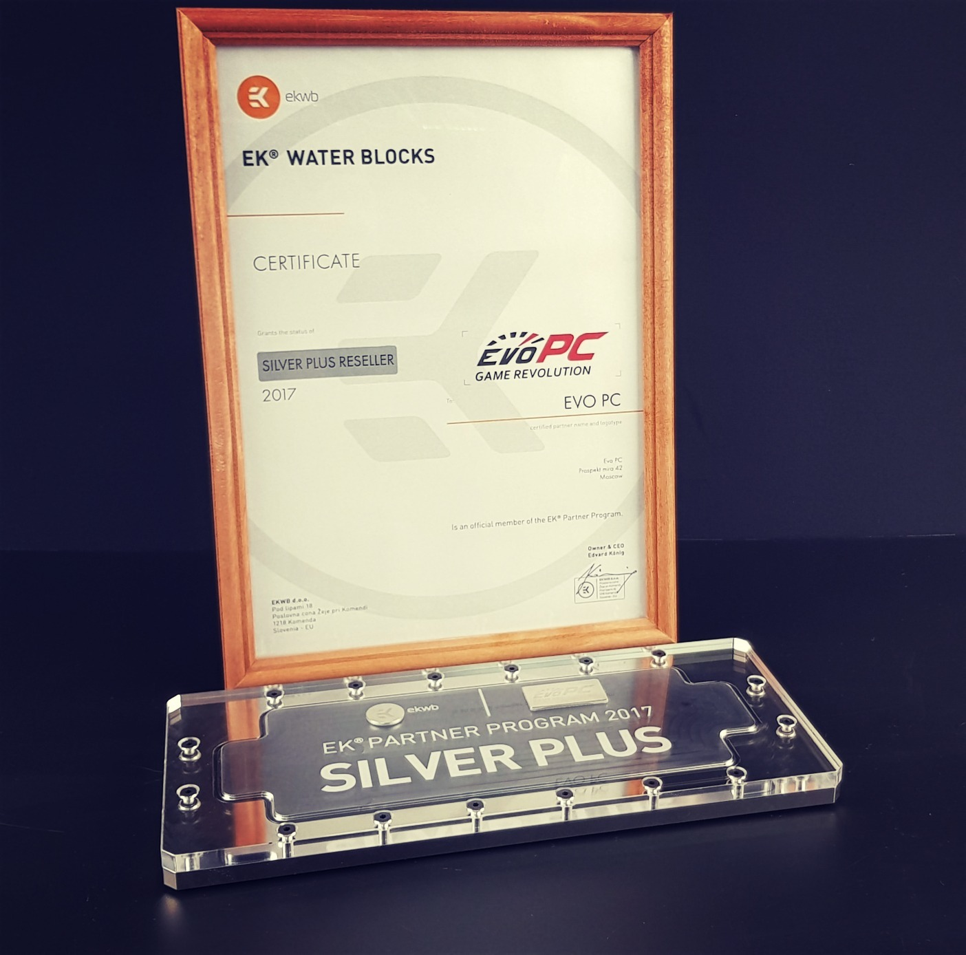 Награждение EvoPC ведущим производителем EK Water Blocks