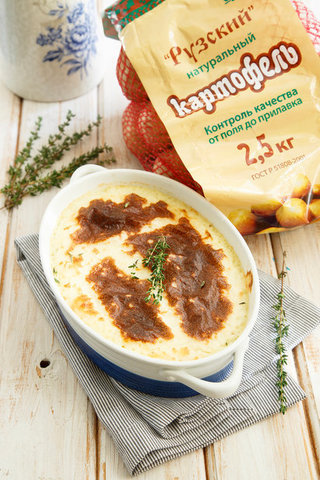 Запеканка из картофельного пюре с чесноком