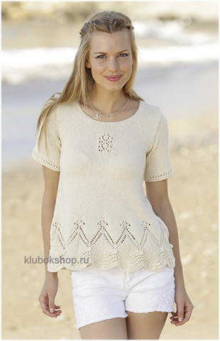 Вязаный женский летний джемпер без боковых швов с коротким рукавом