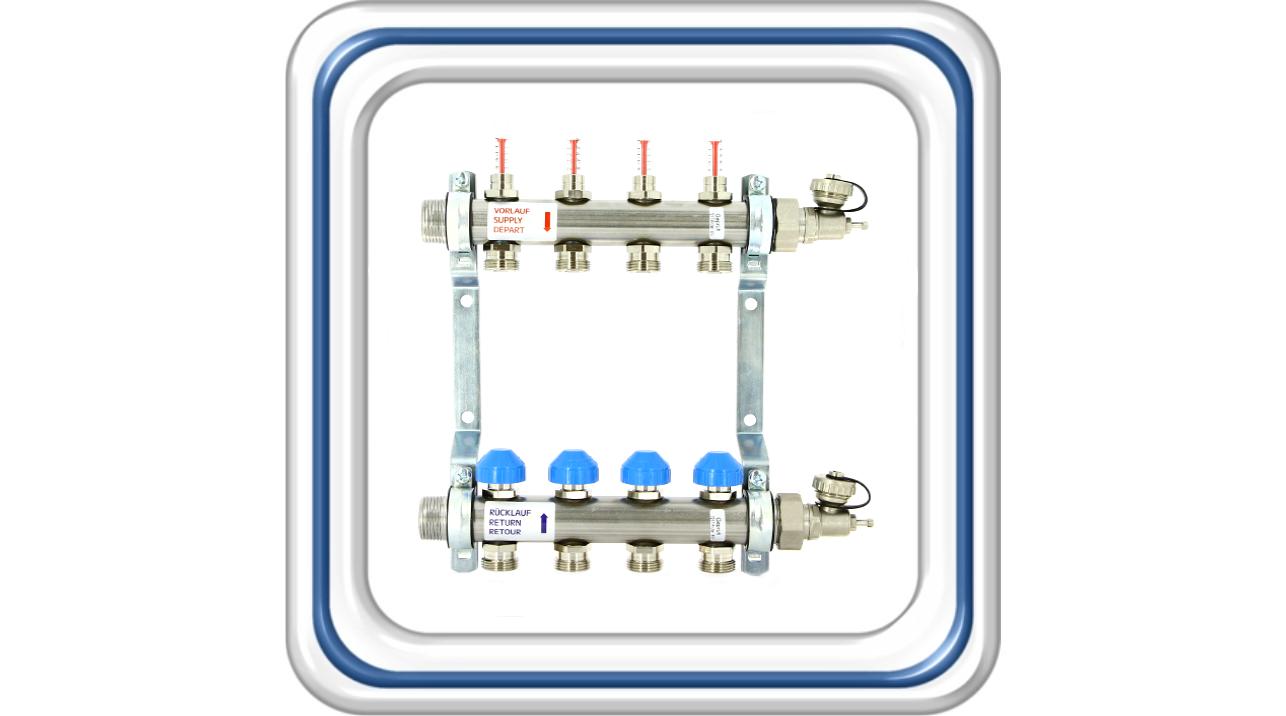 Коллектор  c расходомерами для теплого пола из нержавеющей стали