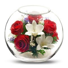 Натуральные цветы в стекле