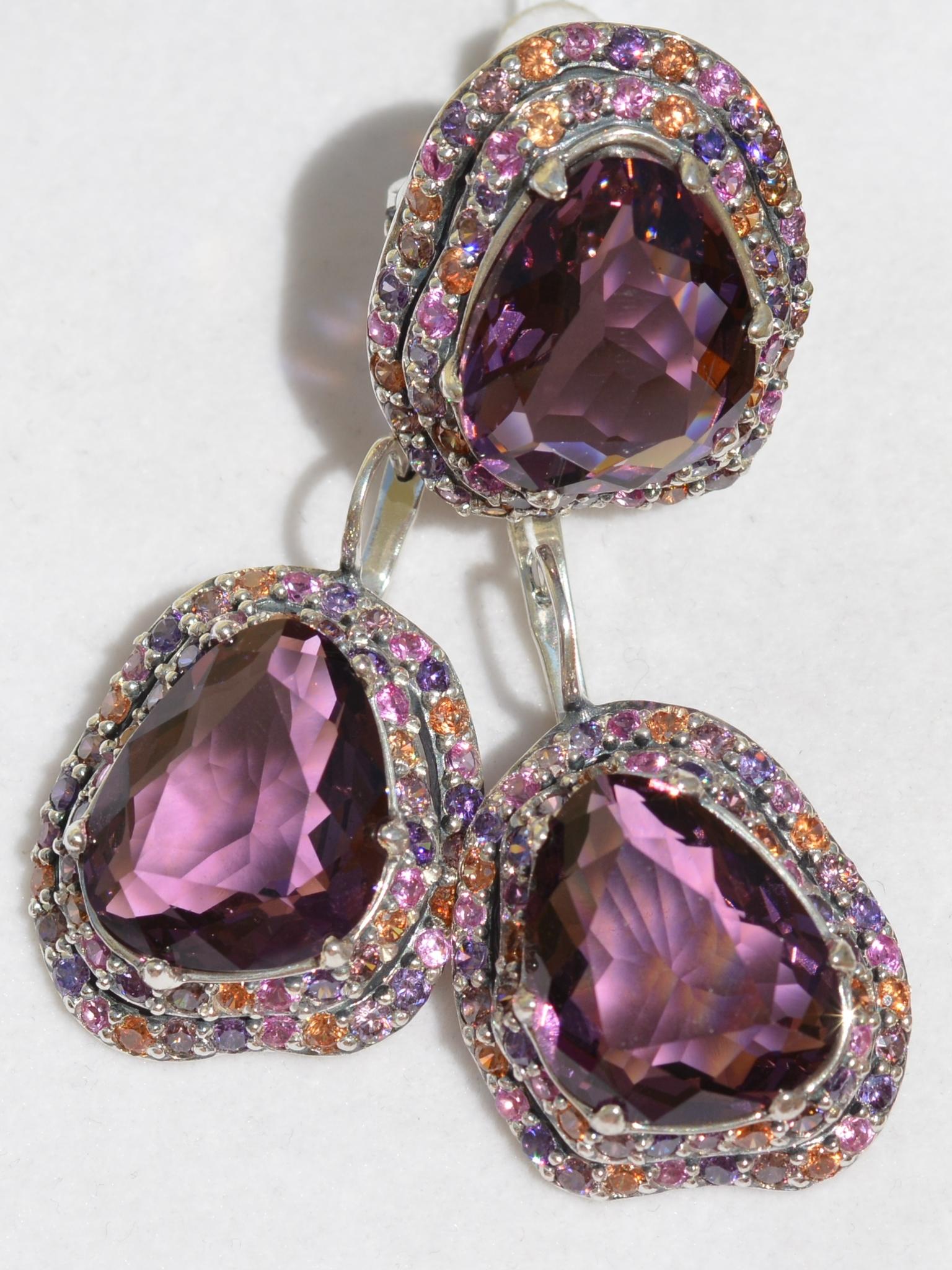 Серебряные комплекты с камнями (кольцо и серьги)